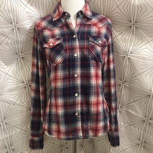 Dark Blue, White, and Red Plaid Flannel Shirt